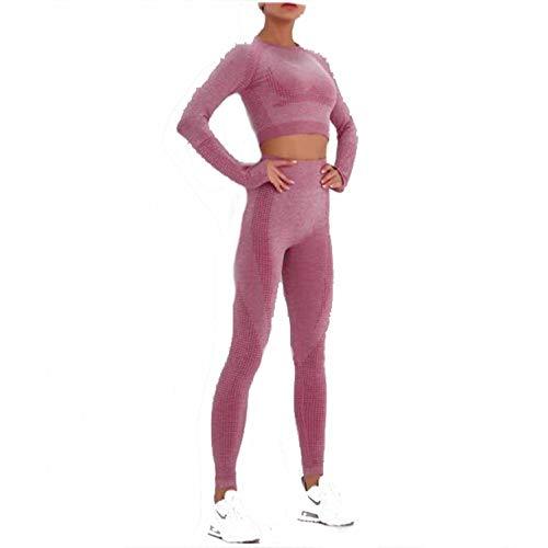 Women's Workout Set 2 Stück Trainingsanzug - Nahtlose Hohe Taille Leggings und Crop Top Yoga Activewear Set,A,L