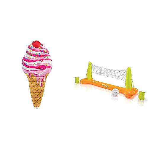 Intex 58762EU Luftmatratze, ''Ice Cream MAT'', 224 x 107 cm & Pool Volleybal Game - Aufblasbares Wasserballspiel - Volleyballnetz - 239 x 64 x 91 cm