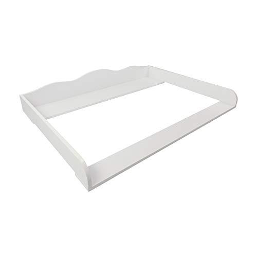 Puckdaddy Wickelaufsatz Erik – 108x80x15 cm, Wickelauflage aus Holz in Weiß, hochwertiger Wickeltischaufsatz passend für IKEA Hemnes Kommoden, inkl. Montagematerial zur Wandbefestigung