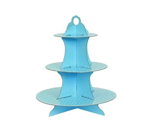 takestop® etagère stand lichtblauw Pois 3 plaatsen 16/23/30 cm CC_39666 van papier USA Getta taartstandaard cupcake muffin Dolce