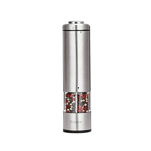 Electric Salt and Pepper Grinder-Battery Operated Stainless Steel Mill with Light Automatic One-Handed Operation Electronic Adjustable Shaker Ceramic Grinder