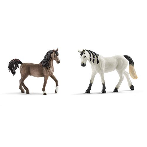 Schleich Pferde Neuheiten 2020 Set - Araber Hengst 13907 + Stute 13908 Sammel-Figuren - Originalgetreu Gestaltet