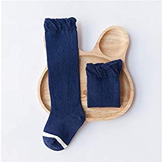 Lovely Socks 6 Pairs Children Cotton Socks Kids Spring and Autumn Stripe Patterns Lace Mid Tube Socks (White) Newborn Sock (Color : Navy)