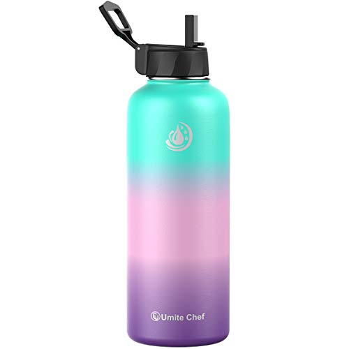 Umite Chef Sports Water Bottle with New Wide Handle Straw Lid, Vacuum...