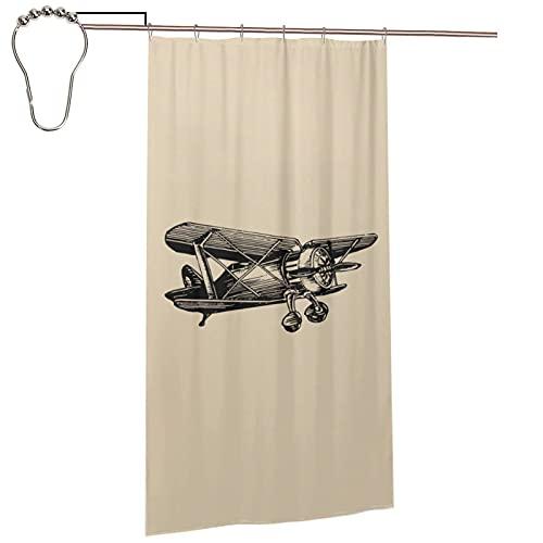 DLJIYZX Vintage Retro Skizziert Flugzeug Duschvorhang 92 X 183 cm, Wasserdicht Polyester Duschvorhang Für Badezimmer Dekor