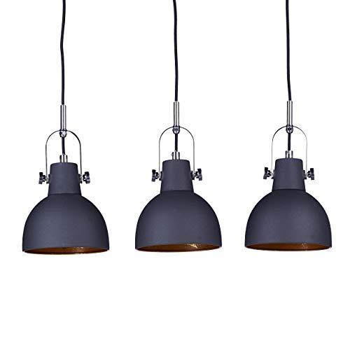 Relaxdays Pendelleuchte 3-flammig, dekorative Schirme, höhenverstellbar, H x B x T: 156 x 55 x 9 cm, schwarz