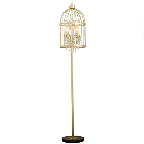 Staande lamp Retro Country Birdcage Ontwerp Lampenkap Floor Lamp, Cut Glass Crystal 4 lichten metaal Living Room Cafe Staande Lamp Vloerlamp Plank Lamp LED