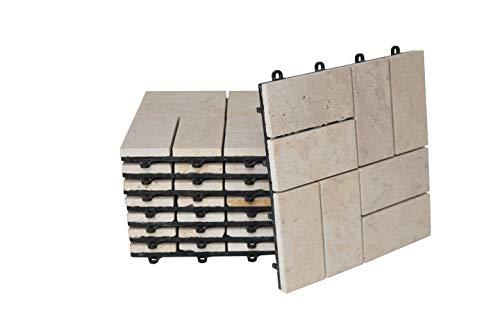 BodenMax®, travertin, click, vloertegels, set 30 x 30 cm, terrastegels, steen, terrasplaat, steen, tegels, beige, kliktegels (8 stuks) 0,72 m²