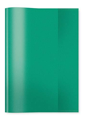 HERMA 7485 Heftumschlag DIN A5 transparent, durchsichtig, aus strapazierfähiger und abwischbarer Polypropylen-Folie, 1 Heftschoner für Schulhefte, grün