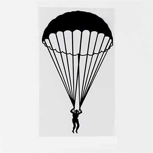 Coche y Motocicleta 8,9 * 15.7 CM Deportes Extremos Parachuelo Salto de Gran altitud Sombrilla Silueta Silueta Personalidad Vinilo Pegatinas de Coche Negro/Plata (Color : 1)
