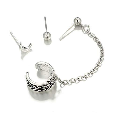 Kofun - Pendientes de plata envejecida para cartílago, pendientes de cadena colgante para mujer, 1 #