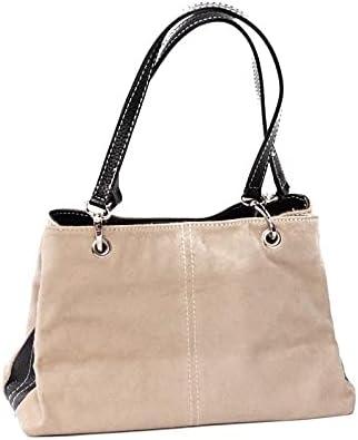 Italian 3 Compartment Beige Suede Shoulder Bag
