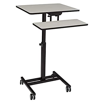 Oklahoma SoundWork from Home Adjustable Height Sit-Stand Mobile Desk Grey Nebula