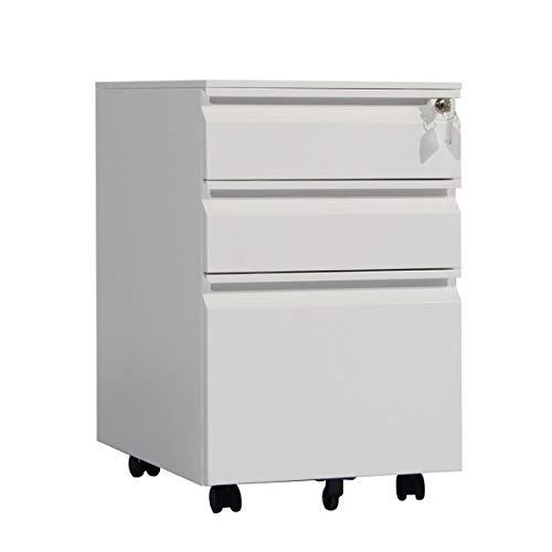 soges File mobile a 3 cassetti Armadio metallico con serratura Sotto scrivania, Completamente assemblato, tranne i ruotatori, Bianca HCCBN004-WT