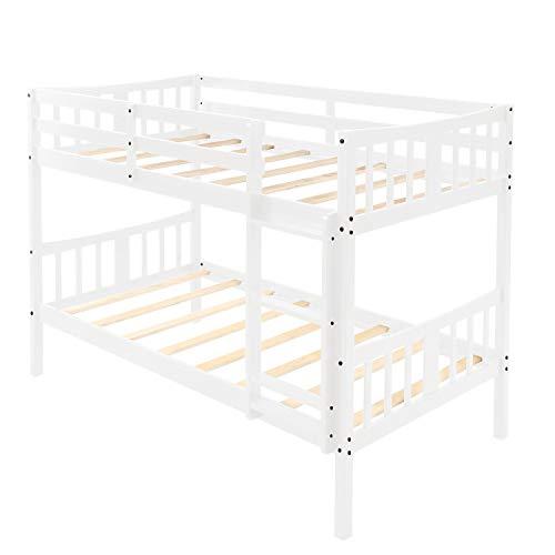 L.W.S Muebles de Dormitorio Cama niños bedroome Gemelo sobre Doble litera de Madera Cama Doble con Escalera