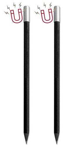 Set van 2 magneetpotloden in pennenetui/potlood met magneet, zwart, ideaal als cadeau voor muzikanten