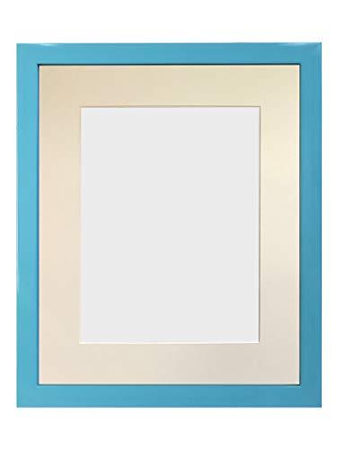 FRAMES BY POST - Cornice portafoto Blu con passepartout Avorio, Dimensioni: 40 x 30 cm, in Vetro plastificato