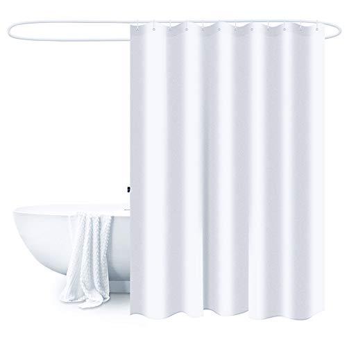 BlueCosto Duschvorhang Polyester Wasserabweisender, Anti-Schimmel Anti-Bakteriell Privatsphäre Maschinenwaschbar 180x180 cm, Weiß