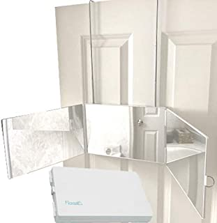 Floxsee Portable Adjustable Tri-Fold Mirror for Home or Travel (White)