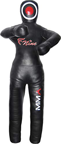 FNine Grappling Dummy MMA Wrestling Boxsack Judo Kampfsport ungefüllt (schwarzes Syn-Leder, 178 cm)
