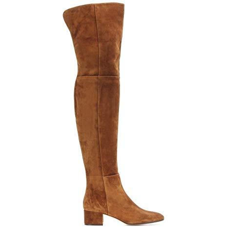 YZT QUEEN Damen Stiefel overknees, Stilvolle Persönlichkeit elastischen Ärmeln hoch elastischen Wildleder Oberschenkel hohe Stiefel, Schlanke Stiefel,Braun,42 EU / 7.5 UK