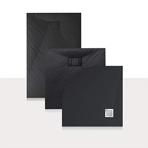 Idralite Duschwanne 90x90x2,6 cm Halbrund Anthrazitfarbe Stein-Effekt Mod. Blend