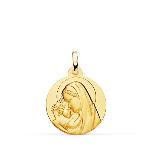 Alda Joyeros Medalla Oro Amarillo18K Virgen Madre y Niño Jesús 18mm Colgante Grabado