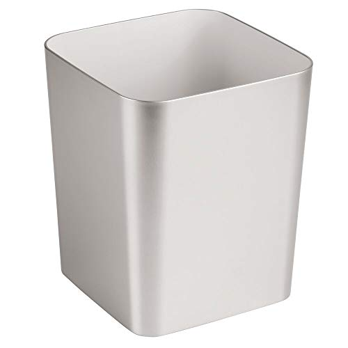 mDesign Square Shatter-Resistant Plastic Small Trash Can Wastebasket, Garbage Container Bin for Bathrooms, Powder Rooms, Kitchens, Home Offices - Brushed Finish