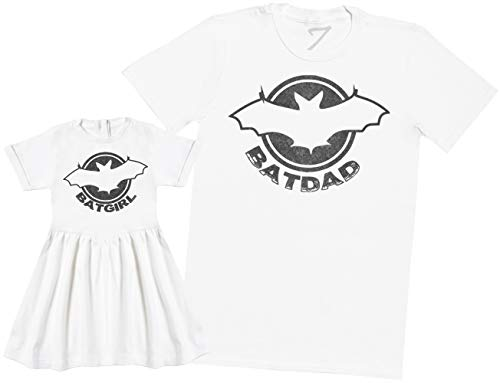 Zarlivia Clothing Batdad & Batgirl - Ensemble Père Bébé Cadeau - Hommes T-Shirt & Robe de bébé Fille - Blanc - XXL & 1-2 Ans
