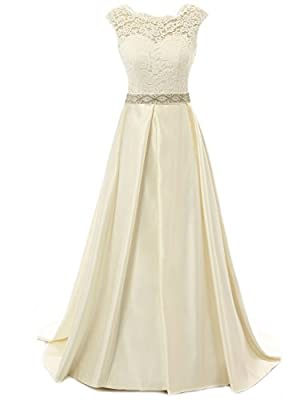 Wedding Dress for Bride Lace Bride Dresses Backless Wedding Gown with Crystal Sash A line Bridal Gown Champagne