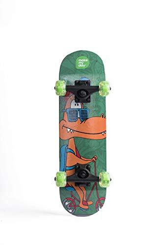 WWWNYY Kinder Skateboarden, Anfänger, Doppel-ups Mode Dinosaurier Junior Profi Skateboard 24 Zoll,Grün
