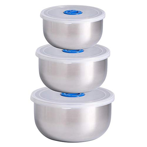 3Pcs Stainless Steel Mixing Bowls Non Slip Nesting Whipping Bowls Storage Container Mixing Bowls with Lid Salad Cooking Baking