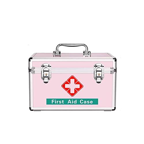 QIXIAOCYB Caja de Almacenamiento Caja de Medicina Caja de Almacenamiento de Medicina de Gran Capacidad para hogar, Plata, Rosa, aleación de Aluminio + plástico (Color : Pink, Size : 16 Inch)