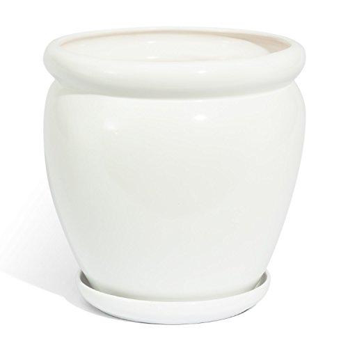 Vaso MUZA in ceramica con sottovaso, diametro 23 cm, colore: bianco