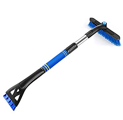 AUPER 32? Extendable Snow Brush and Detachable Ice Scraper, 360? Pivoting Head Snow Brush with Comfortable Soft Foam Grip for Car Truck SUV, Blue
