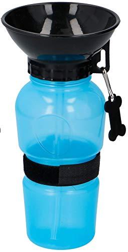 wohnen-freizeit Mobiler Wassernapf Hunde Trinkflasche mit NAPF praktisch für Unterwegs (BLAU)