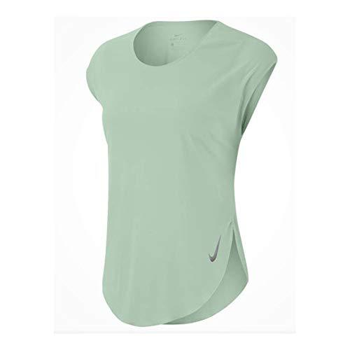Nike Damen City Sleek Top Shortsleeve, Pistachio Frost/Reflective SIL, M
