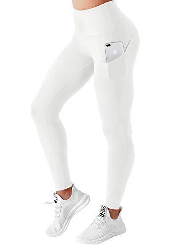 BUBBLELIME Pantalones de yoga de cintura alta para mujer, con bolsillos laterales, para entrenamiento, correr, capris y control de barriga, elástico en 4 direcciones - Blanco - M-66 cm tiro