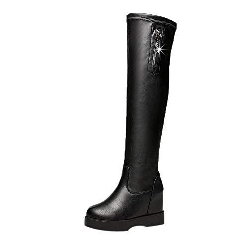 Yowablo Damen Stiefel Winterstiefel Overknee Stiefel Damen Schuhe Winterstiefel Warme High Heels Stiefel Lange Schuhe (40 EU,Schwarz)