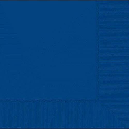 amscan 33 cm 2 Plis Lot de 50 Serviettes en Papier, Bleu Roi Lumineux
