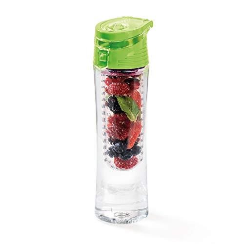 Genius A15003 Fresh N Fruit Set de 3 Verde – antigoteo de 620 ml Botella de Agua con Inserto de Aroma, Ideal para Deporte, Escuela, Oficina, Bicicleta, PP