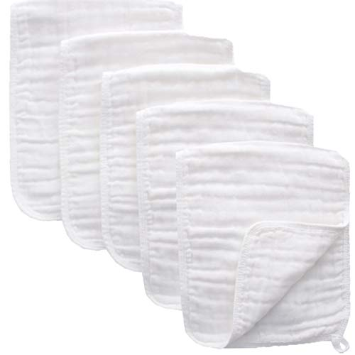 Muslin Burp Cloths - Cotton 5 Pack 6 Layers Burp Rags, Washcloths Towel Large Thicken Soft Absorbent Spit Up Rags Diapers for Unisex Newborns Baby Girl Boy Shower Registry Gift (White)