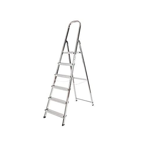 Novohogar Escalera de Aluminio Plegable con Peldaños Anchos, con Apoyabrazos. Tacos Antideslizantes...