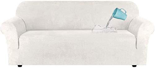 LINGKY Fodera per Divano in Velluto Universale, Copridivano in Velluto Elasticizzato per Divano A 1/2/3/4 Posti, Idrorepellente, Vari Colori, Pelle & Scamosciato (Avorio,4 posti(228-292 cm))