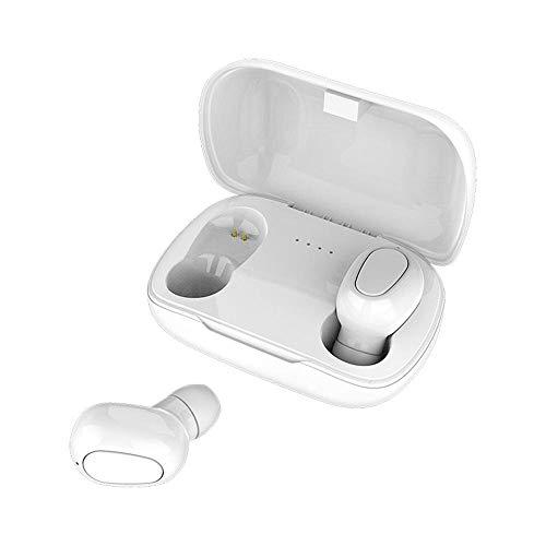 Zoe home Auriculares Bluetooth Auricular L21 HiFi Sonidos Auriculares inalámbricos Auriculares Manos Libres Auricular estéreo del Juego for el iPhone Samsung (Color : L21 White)