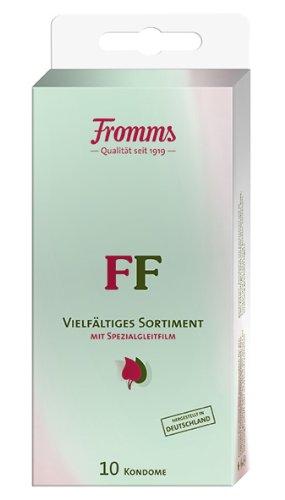 Fromm\'s FF Vielfältiges Sortiment aus farbigen. perlgenoppten und farbig-aromatisierten Kondomen 10er Packung. 10 Kondome