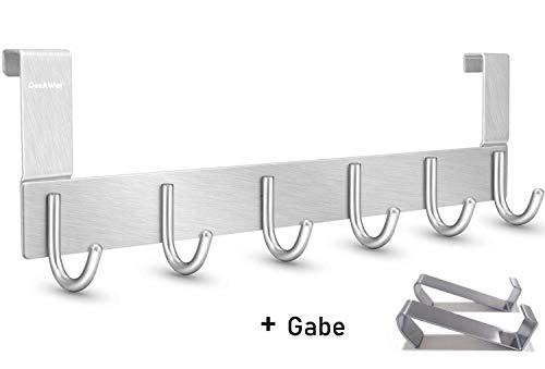 DeeAWai Türgarderobe Türhaken Set - Aluminium Türhakenleiste mit 6 Haken und 2 Türhaken Edelstahl - Kleiderhaken Tür und Garderobenhaken ohne Bohren (1.5cm)
