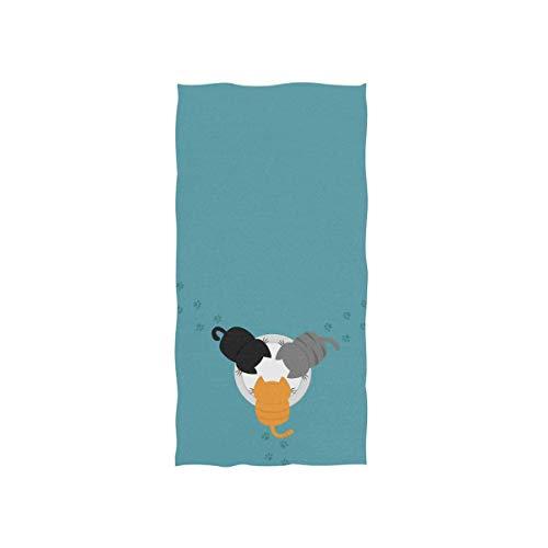 LREFON Toallas Gatito Divertido Gato con Huella de Pata Kawaii Kitty alimentando Animal Personaje de Mascota de Dibujos Animados en Azul para la Ducha,Toallas de baño,Deportes al Aire Libre