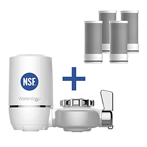 Waterdrop NSF Certified Faucet with 4 Filter Replacement, Longer Life Water Faucet Filter, Reduces Lead, Chlorine & Bad Taste - Fits Standard Faucets
