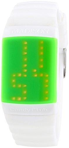 MADISON NEW YORK Candy Club - Reloj automático Unisex, Correa de Silicona Color Blanco